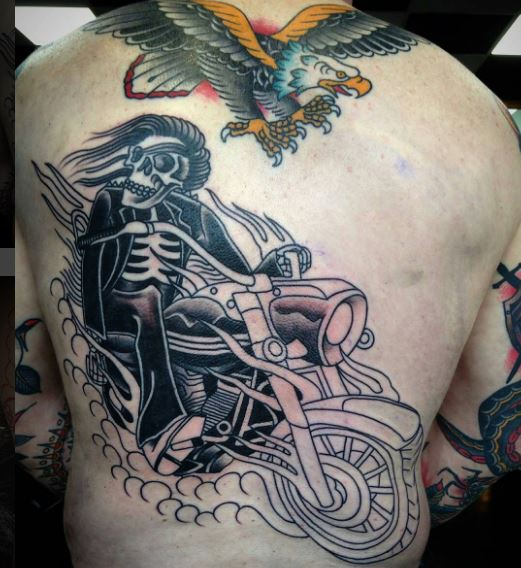 50 cool biker tattoos ideas for men and women 2018 tattoosboygirl. Black Bedroom Furniture Sets. Home Design Ideas