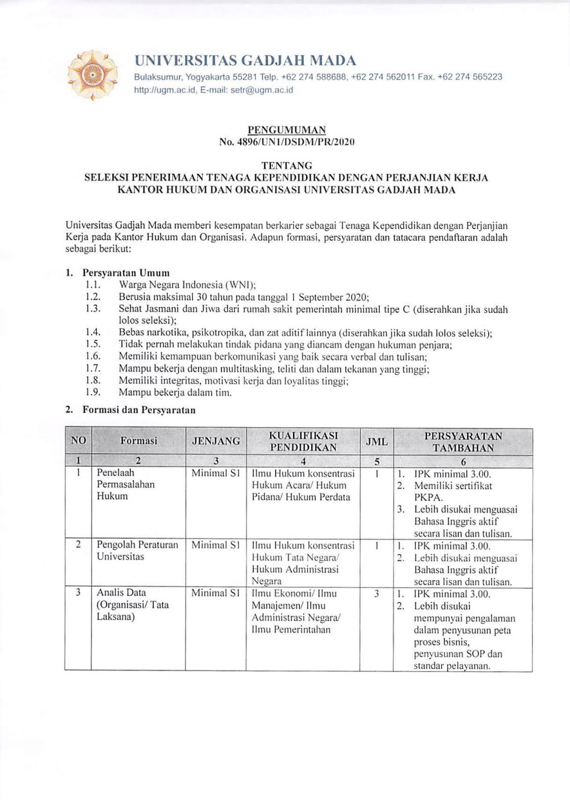 Lowongan Kerja Tenaga Kependidikan Universitas Gadjah Mada Agustus 2020