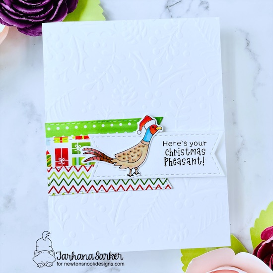 Pheasant Christmas Card by Farhana Sarker | Christmas Pheasant Stamp Set, Holiday Foliage Stencil and Frames & Flags Die Set by Newton's Nook Designs