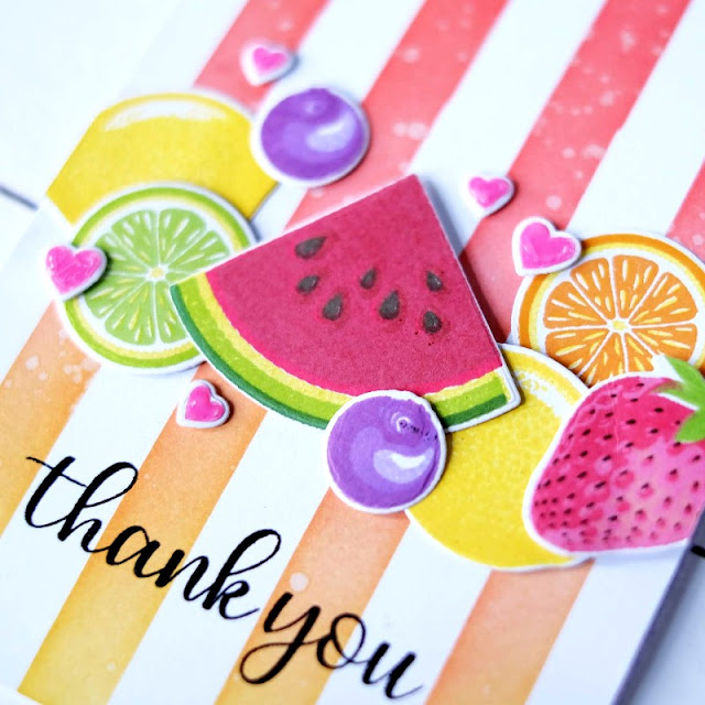 Sunny Studio Stamps: Slice Of Summer Berry Bliss Everyday Greetings Fancy Frames Summer Themed Thank You Cards by Rachel Alvarado and Lexa Levana