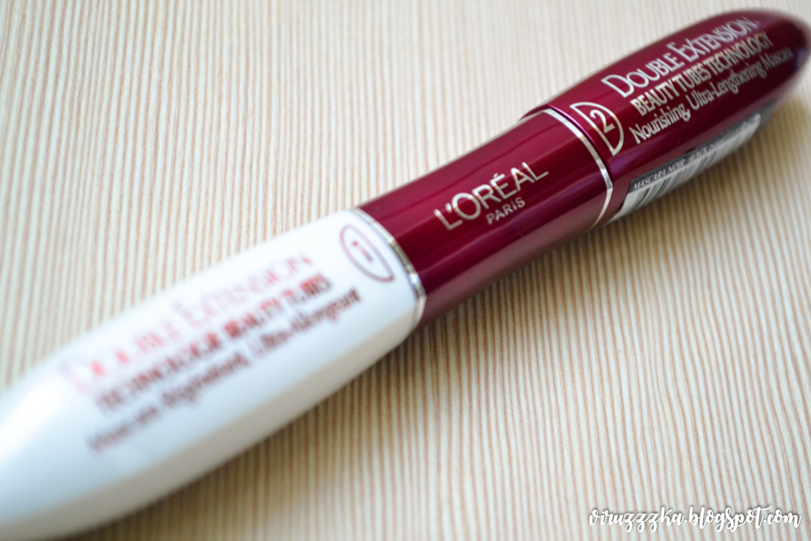 Loreal Paris Double Extension Beauty Tubes Technology Nourishing Ultra-Lengthening Mascara Black Review & Swatches