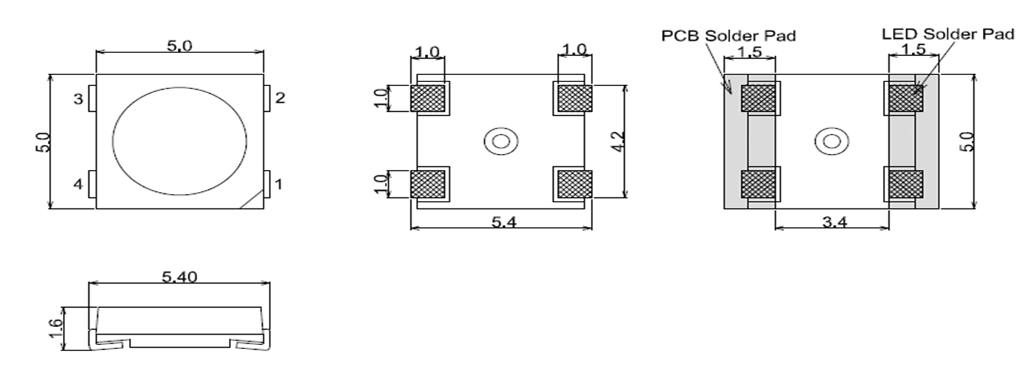 Digital Led Display Apa107 Apa102 Ws2812b Sk6812 Ramping Circuit Mechanical Size And Pin Map Unit Mm