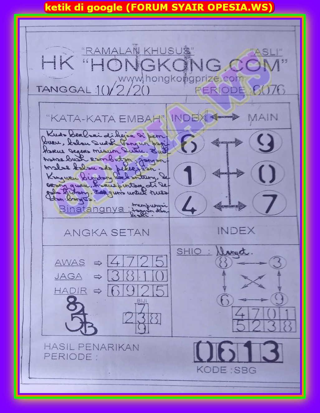 Kode syair Hongkong Senin 10 Februari 2020 57