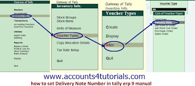 how to set Delivery Note Number in tally erp 9 manual