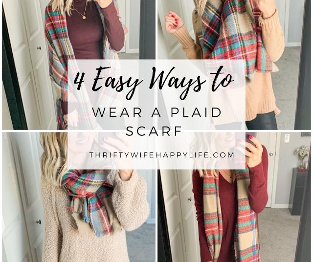 Easy ways to wear a plaid scarf