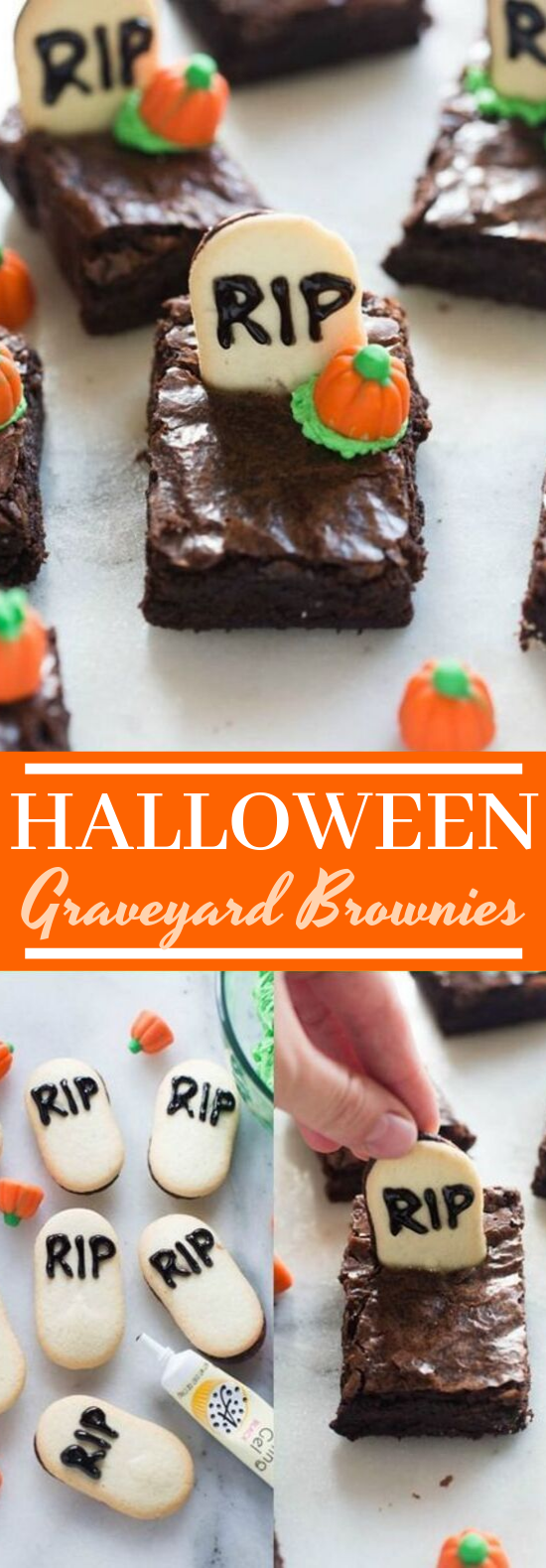 Halloween Graveyard Brownies #desserts #brownies