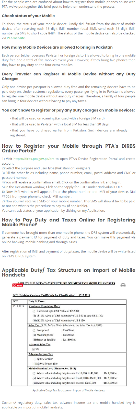 How to Register your Mobile Phone Online with PTA ~ Helping