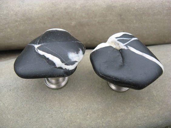 black beach stone knobs