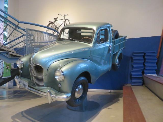 Metallic light blue car in exhibition in the Weg Museum.