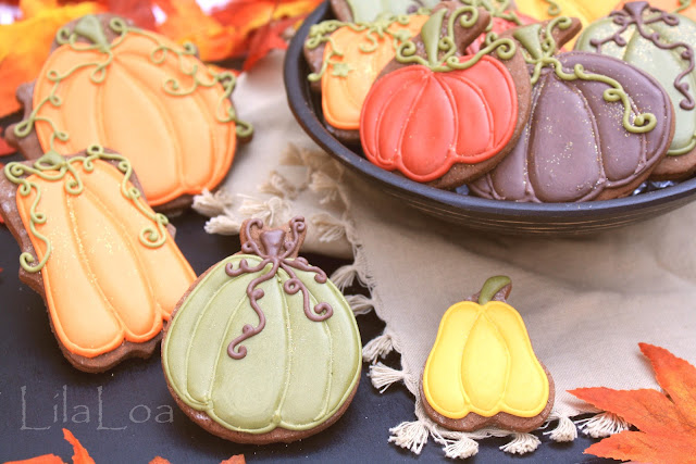 Elegant decorated pumpkin sugar cookies