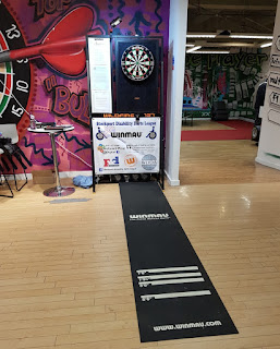 The Stockport Disability Darts League set-up at The Players' Entrance