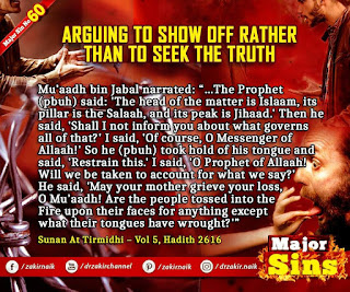 MAJOR SIN. 60. ARGUING TO SHOW OFF RATHER THAN TO SEEK THE TRUTH