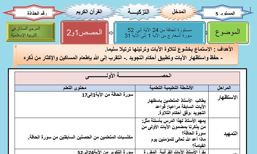 جذاذة التربية الاسلامية تقويم و دعم الوحدة 1 الاسبوع 6 الخامس Word