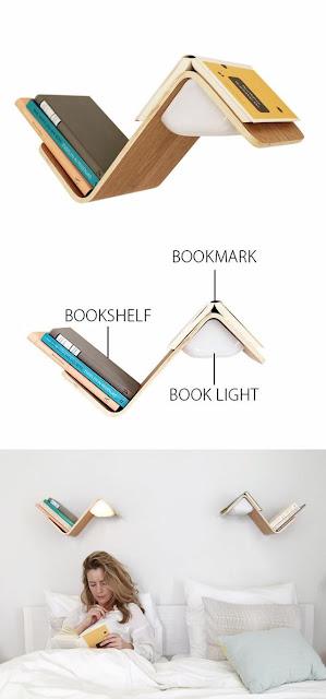 Estantería para arriba de la cama, para libros con lámpara