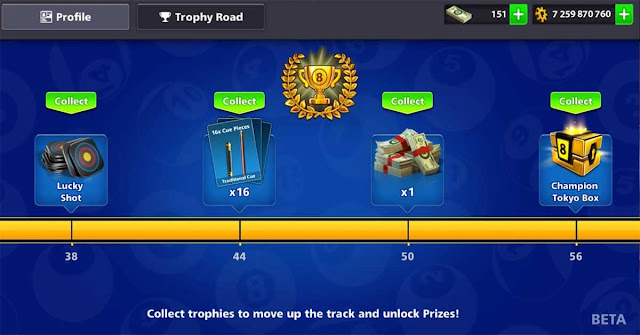 Trophy Road 8 ball pool Free Rewards Trophies