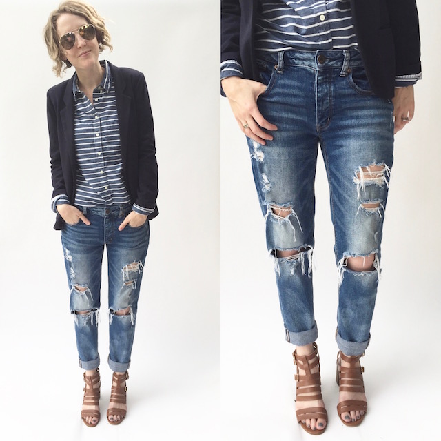 Work Outfit, boyfriend jeans, working mom outfit, working mom style, distressed denim, blazer, casual work outfit