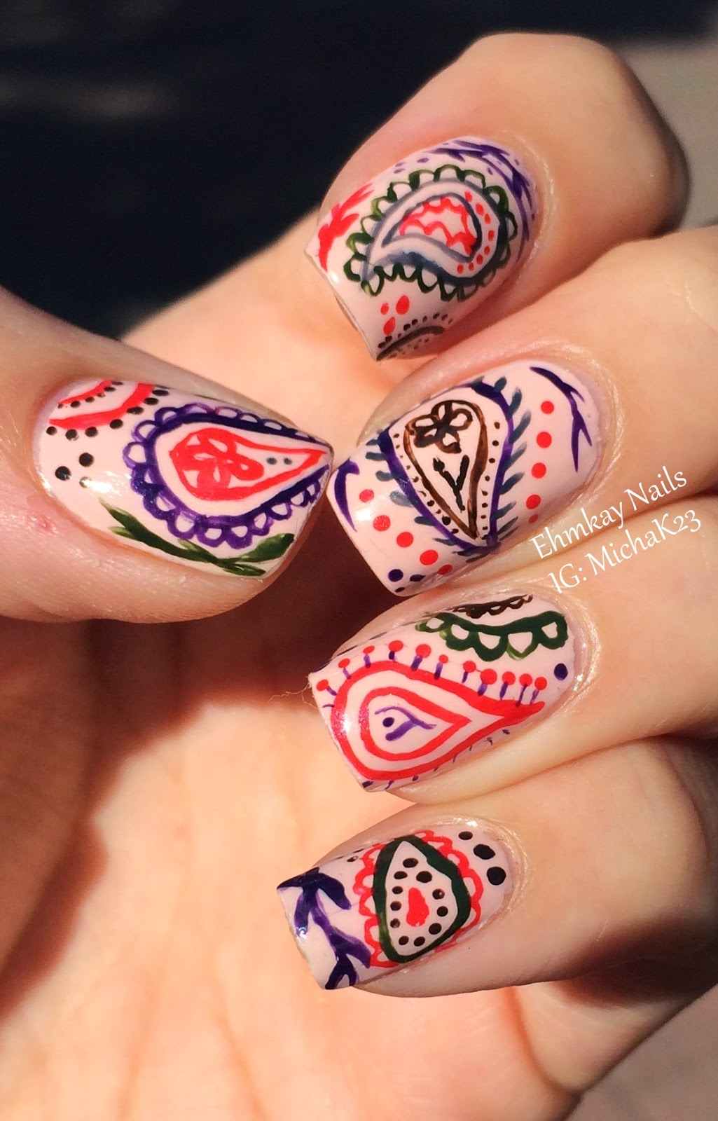 Ehmkay Nails: Hand-painted Paisley Nail Art With Jessica