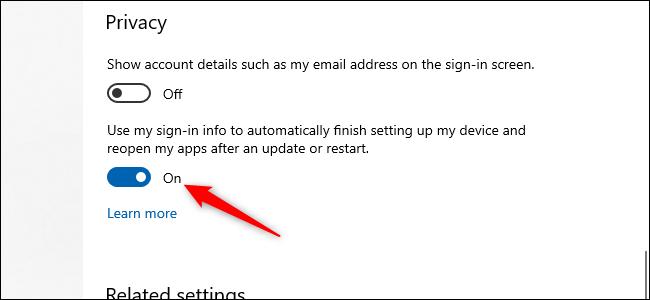 زر تمرير / إيقاف تشغيل Windows 10 مع سهم أحمر يشير إليه