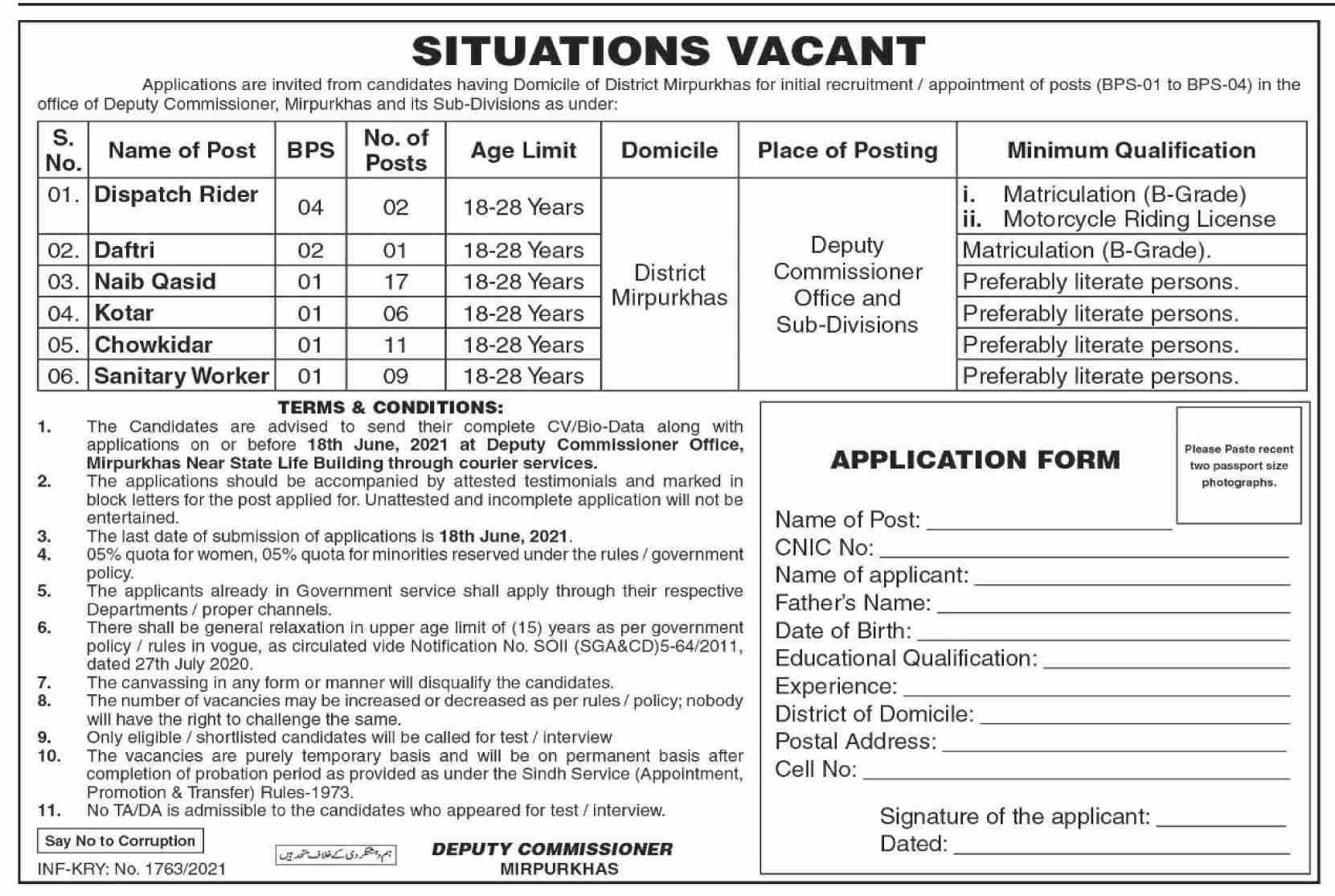 Deputy Commissioner Office Jobs 2021 in Pakistan