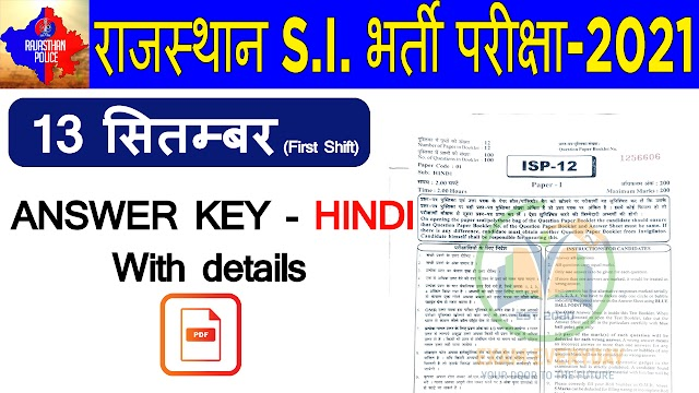 RPSC SI Answer Key 2021 Check Raj SI Question Paper & Solutions for both Papers