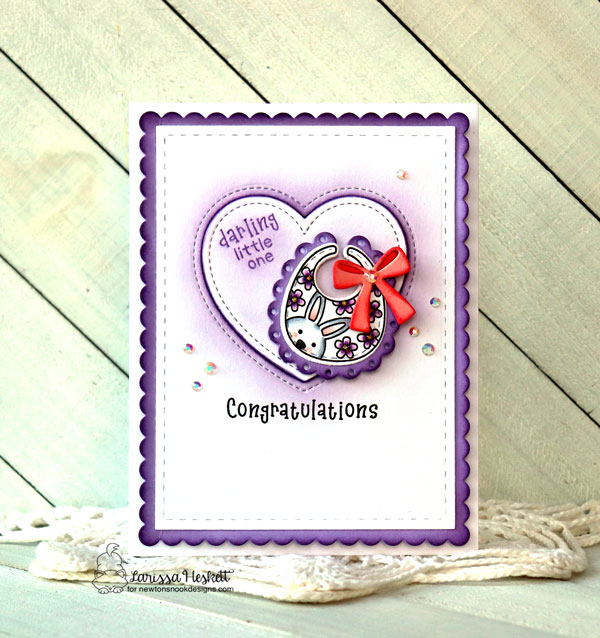 Baby Bib Girl Card by Larissa Heskett | Bitty Bibs Stamp Set, Baby Bib Die and Frames & Flags Die Set by Newton's Nook Designs #newtonsnook #handmade