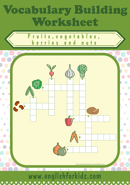 Vegetables crossword puzzle for English learners