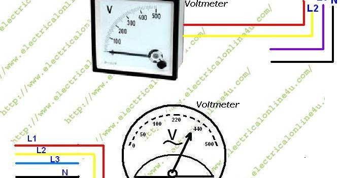 how to wire voltmeter in 3 phase wiring electrical online 4u. Black Bedroom Furniture Sets. Home Design Ideas