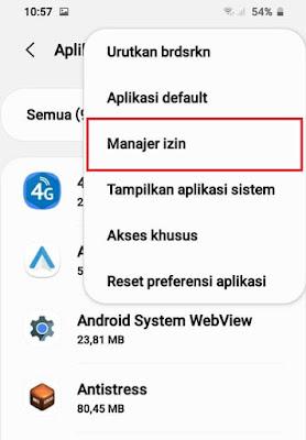 Menu Aplikasi Samsung - Izin Aplikasi