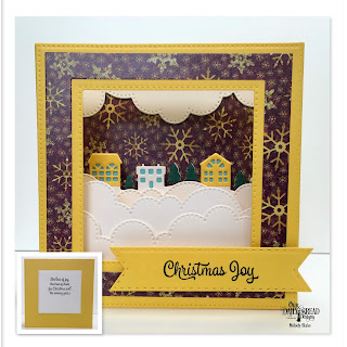 Our Daily Bread Designs Stamp Set: Christmas Card Verses, Custom Dies:  Diorama with Layers, Cloud Borders, Neighborhood Border, Double Stitched Squares, Double Stitched Pennant Flags, Paper Collection: Christmas 2015