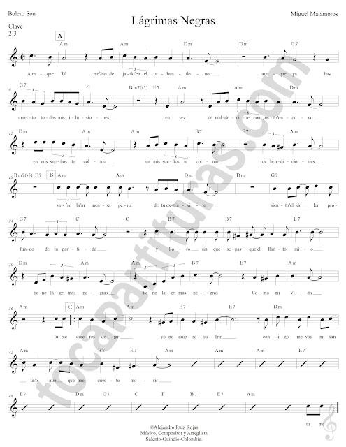 Lágrimas Negras de Miguel Matamoros Partitura con Acordes Lágrimas Negras Sheet Music with Chords