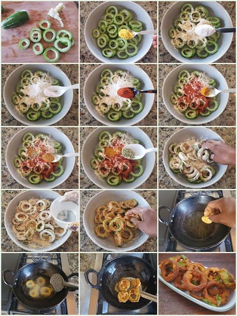 images of Snake Gourd Pakora / Pudalangai Pakoda / Snake Gourd Fritters / Potlakaya Pakoda