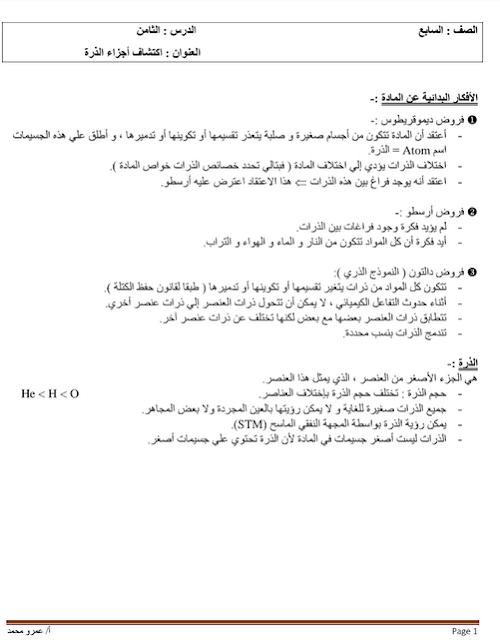 ملخص درس اكتشاف أجزاء الذرة في العلوم للصف السابع