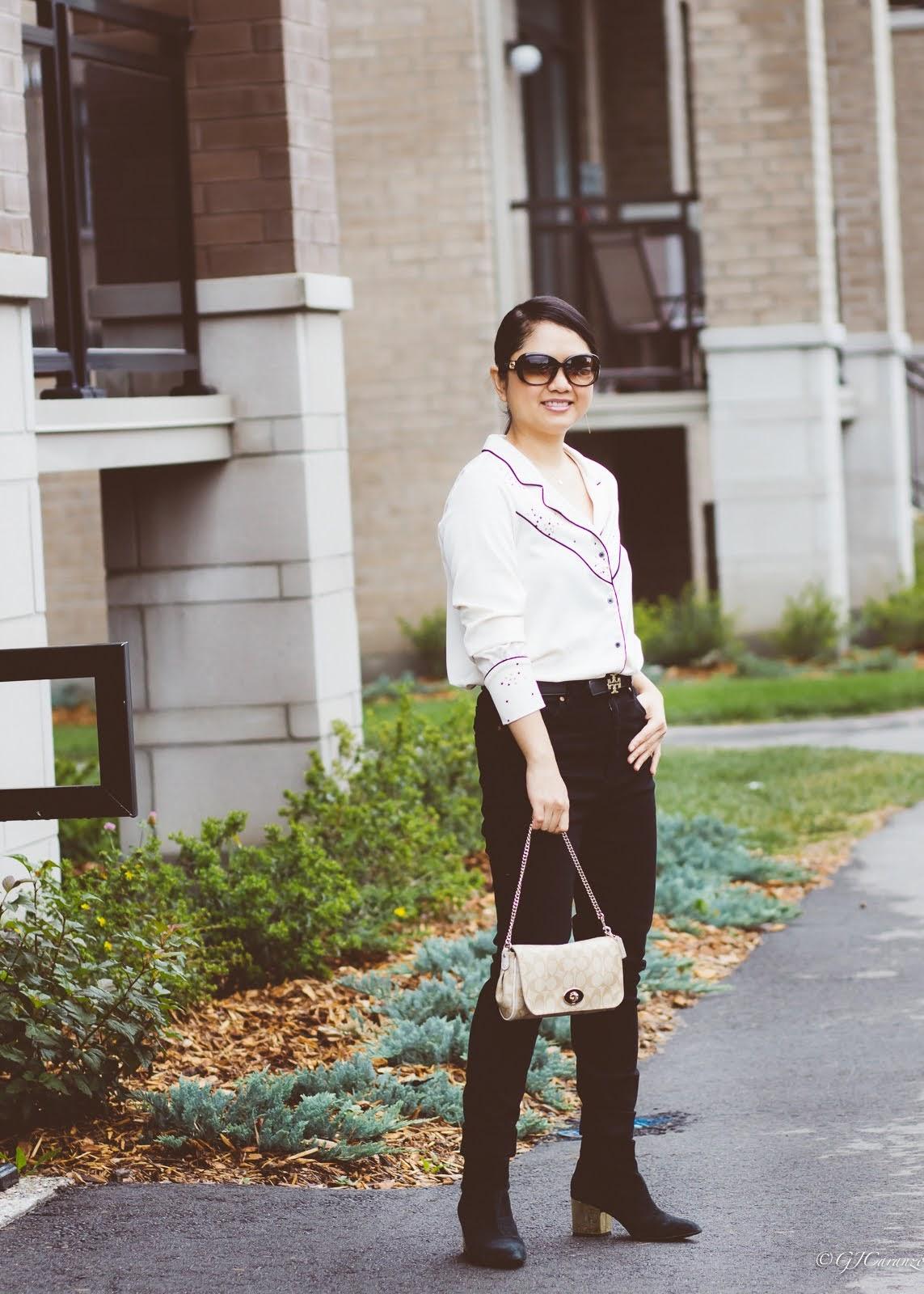 Zara Long Sleeve Pajama Shirt | Mango Black Jeans | Tory Burch Reversible Belt | Steve Madden Ankle Booties | Coach Bag | Petite Outfit | Mom Style