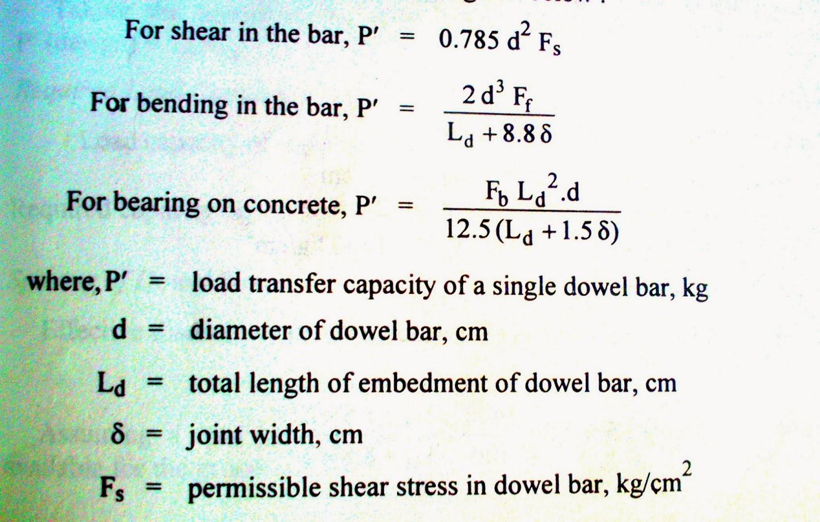 Civil Engineering Notes: Design of Dowel bars - Rigid Pavements