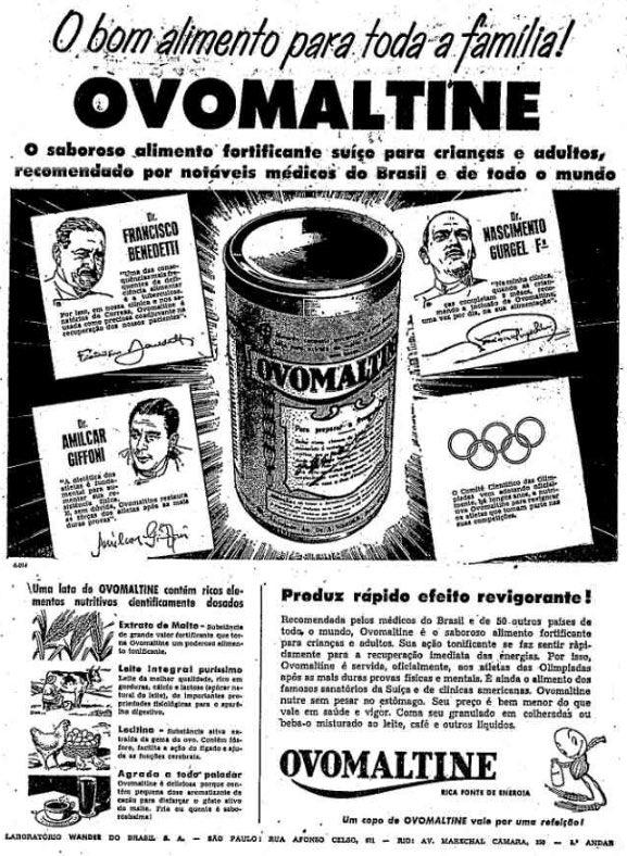 Propaganda antiga promovia o consumo do Ovomaltine por meio de testemunhais de atletas olímpicos