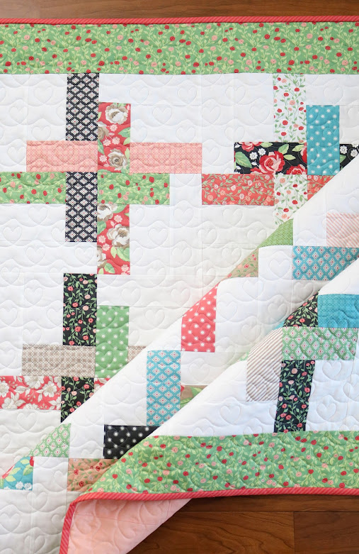 Sweet baby quilt - Hello Washi quilt pattern from A Bright Corner - uses 1 charm pack of Bloomington fabric