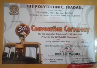 Poly Ibadan 34th Convocation Ceremony Programme of Events