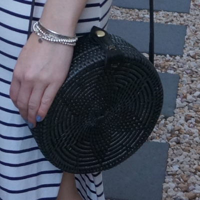 navy stripe maxi skirt and Amerii medium sling rattan bag in black | away from the blue