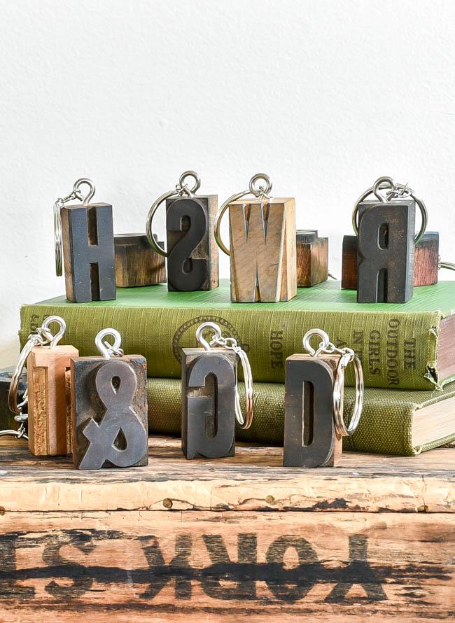 DIY letterpress keychains