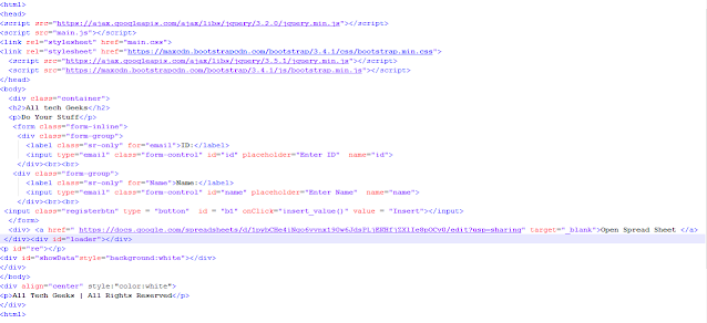 Insert operation on Spread Sheet using Google Apps script  html