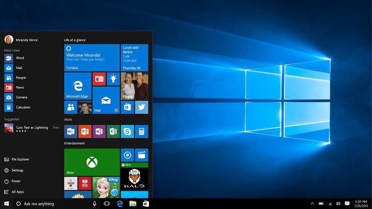Tampilan komputer Windows 10