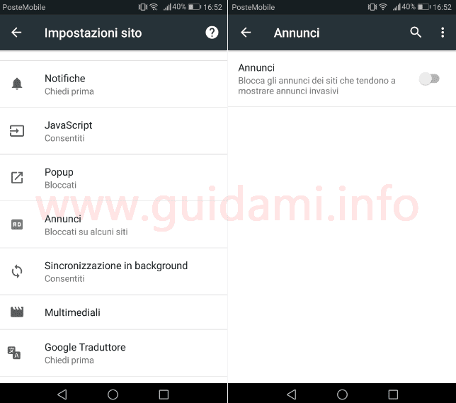 Android Chrome Canary con adblocker integrato