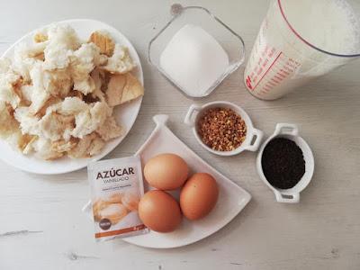 Ingredientes budín de pan al horno fácil