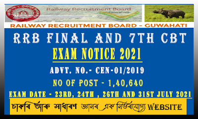 RRB Final and 7th CBT Exam Notice 2021