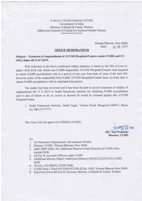jindal-naturecare-institute-cghs-csma-rules-paramnews