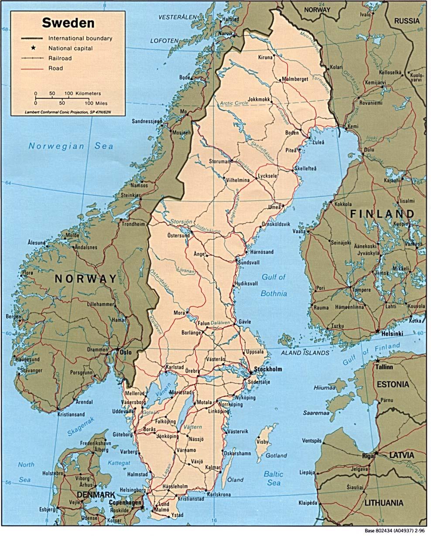 Kaart Landen Noord Europa Kaart Zweden En Stockholm Kattegat