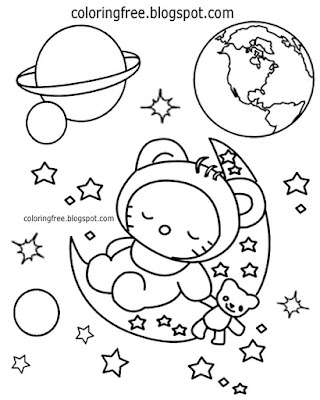 Planet earth night sky printable outer space coloring book Hello Kitty girl in the moon with stars
