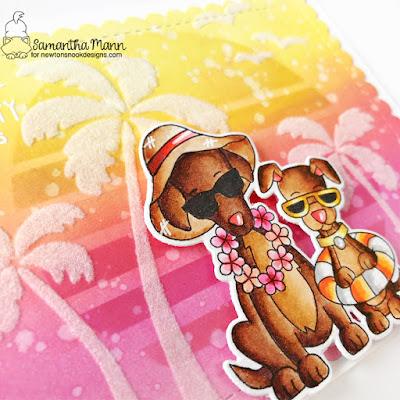 Sandy Paws & Salty Kisses Card by Samantha Mann for Newton's Nook Designs, Stencil, Distress Inks, Ink Blending, Summer, Handmade Cards, Card Making, #newtonsnook #newtonsnookdesigns #distressinks #inkblending #flock