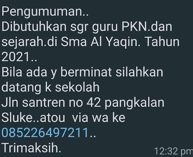 Lowongan Kerja Guru PKN Dan Sejarah SMA Al Yaqin Sluke Rembang