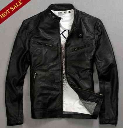 jaket kulit casual warna hitam untuk pria